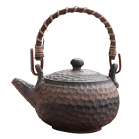 200/250ml Japanese Style Ceramic Kung Fu Tea Set Handmade Retro Coarse Pottery Rust Glaze Teapot Kettle Candle Heater Tea Warmer
