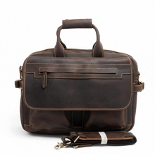 Crazy Horse Genuine Leather Men Classic 15 inch laptop Briefcase Handbag Shoulder Bussiness Zipper Laptop Notebook Bags LI-1087