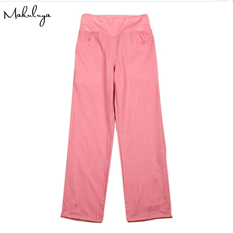 Makuluya Better Linen factory oem linen pants elastic waist wide leg pants casual pants top straight pants loose trousers L6