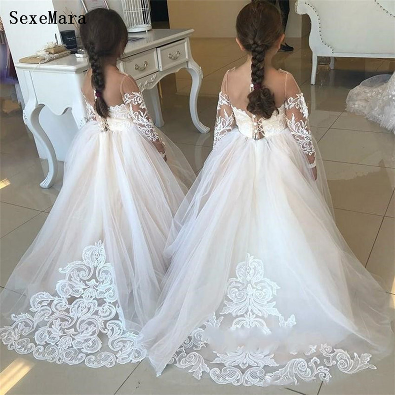 White Lace Puffy Tulle   Flower     Girl     Dresses   O Neck Lace Ball Gown   Girls   Birthday   Dresses   First Communion Gown Custom Made Size