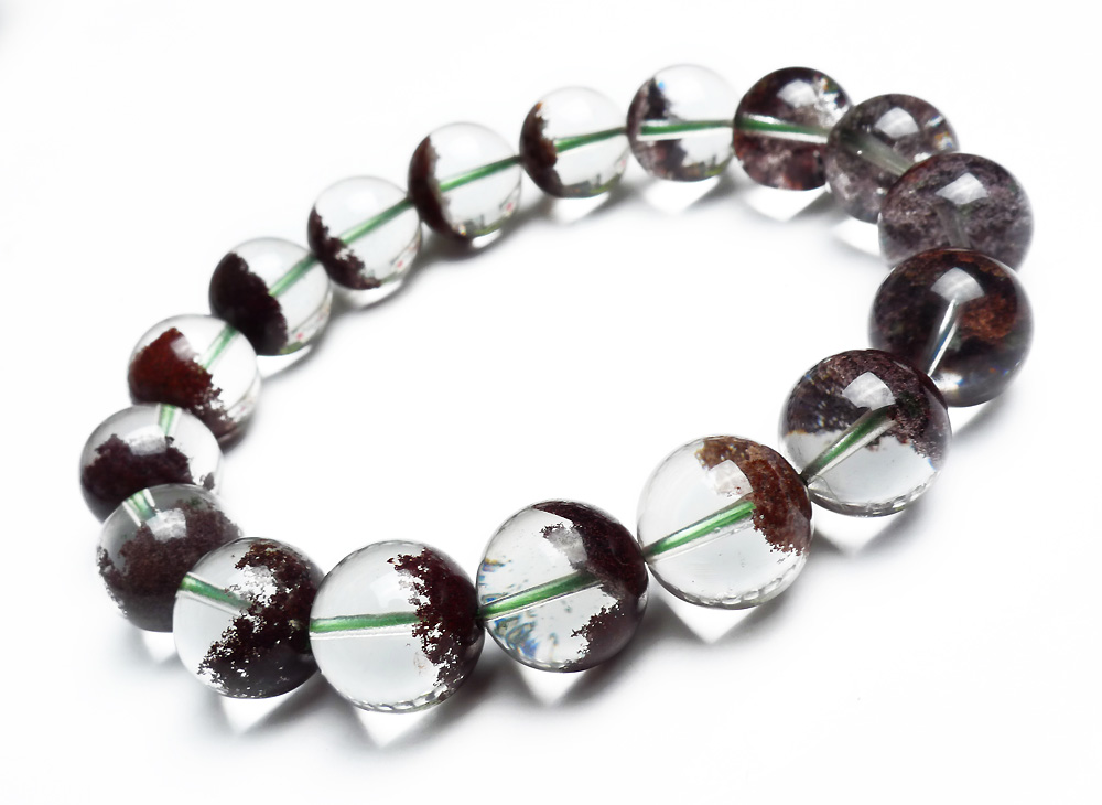 Unique One 12mm Genuine Natural Red Phantom Quartz Crystal Clear Transparent Round Beads Jewelry Stretch Charm Bracelet Femme