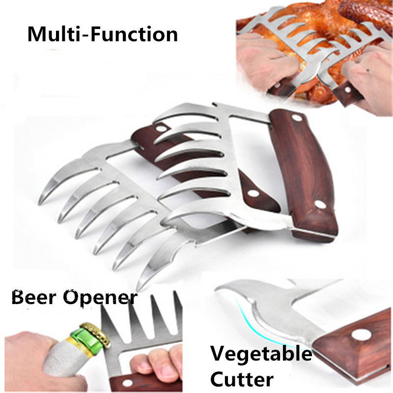 1pc Multi-function Bear Paws Claws Meat Handler Fork Tongs Pull Shred Pork Cutters BBQ Tools Beer Opener Vegetable Cutter Щипцы