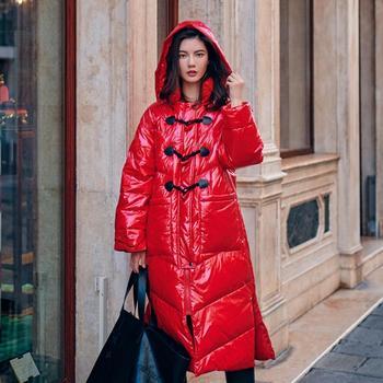 Fashion brand glossy fabric white duck down coat female winter thicker super long duck down caot warm down jacket wq689 dropship