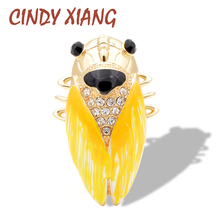 CINDY XIANG Fashion Style 2018 Brightly Colored Cicada Brooches For Women Three-color Crystal Insect Coat Sweater Accessories