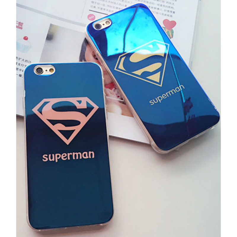 Blue light Superman <font><b>Lovers</b></font> case For iPhone 6 6s 4.7 inch 5 5S SE <font><b>Blu-ray</b></font> Superhero Funda Couqe For iPhone 6 6S plus 5.5 inch