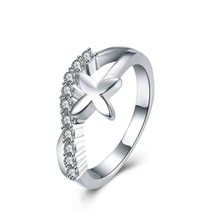 Silver Plated CZ Diamond Ring Clover plant minimalist style charm jewelry woman nice birthday present hot
