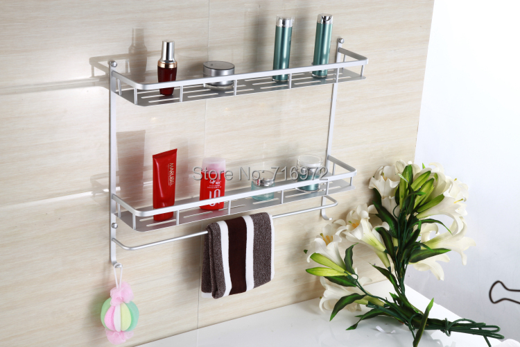 ФОТО New Style Free Shipping Wall Mounted Double Layers(40cm) Bathroom Towel Holder,Bathroom Shelf,Bathroom Accessories-Wholesale8840