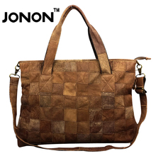 JONON Women Messenger Bags Leather Handbag Stitching Vintage Genuine Shoulder Crossbody Bag Casual Famous Designer Brand WHB016