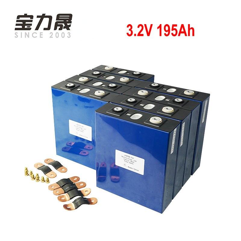 8 pièces 3.2 V 190Ah lifepo4 batterie 4000 CYCLE LFP lithium solaire 8 S 24v200ah cellules pas 100Ah pour pack Marine RV Golf EU US sans taxe