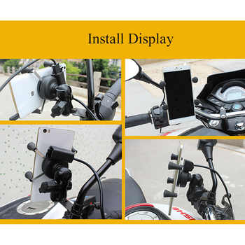 Motorbike Mirrors X-Grip 3.5-6 Inch Cell Phone Mount Holder USB Charger For Harley Electra Glide Softail Road King
