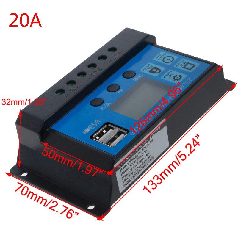 PWM 10/20/30A двойной солнечные панели из кремня Батарея регулятор заряда аккумулятора 12/24V ЖК-дисплей - Цвет: 20A