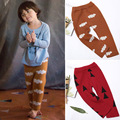 NIÑOS OTOÑO INVIERNO niños ropa de hilo de algodón de punto pantalones de los niños pequeña nube bobo del árbol de navidad de lana pantalones de LOS MUCHACHOS