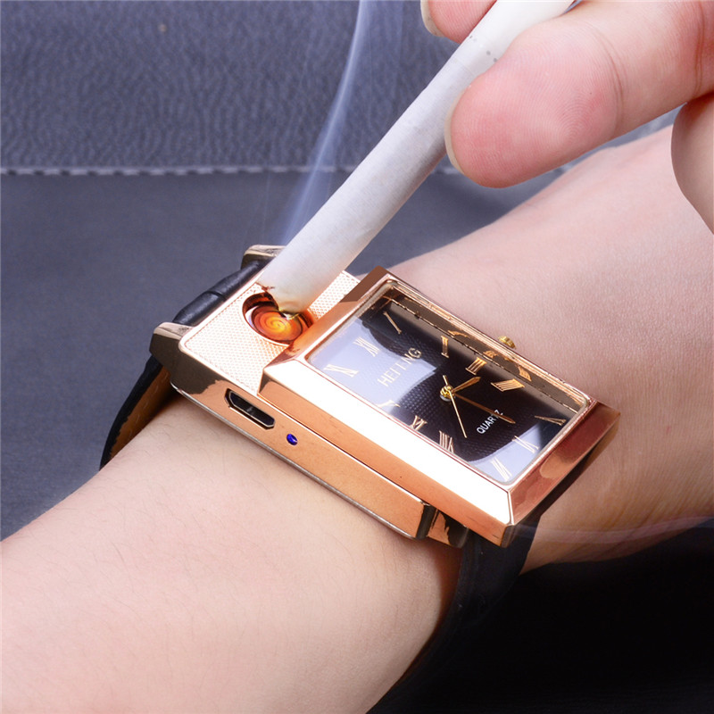 CkeyiN Flameless Windproof Cigarette Lighter Watches relogio masculino Rechargeable USB Lighter Men's Quartz Wristwatches 5052 fly eagle fe808 usb rechargeable electronic cigarette lighter keychain green