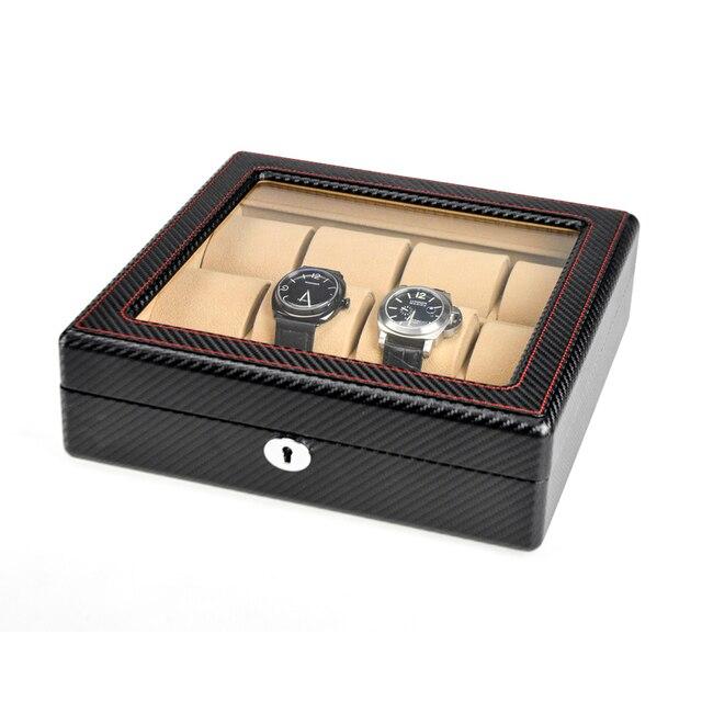 Caixa de Viagem de alta Qualidade Avestruz pele PU Camelo Profundo de veludo 12 Grade Caixa de Armazenamento Do Relógio Caixa de Relógio de Moda Vestido