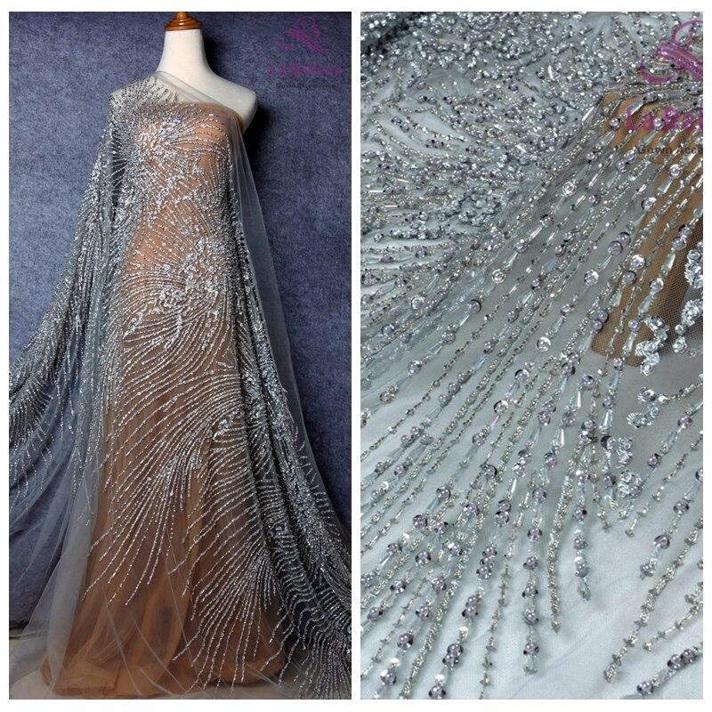 La Belleza 1 yard new beautiful fashion design pearls crystal sequins hand made super heavy beaded