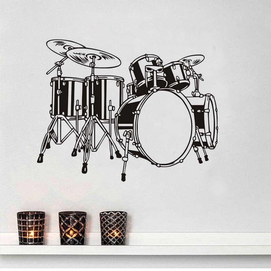 DCTOP Drum Set Wall Decals <font><b>Children</b></font> Bedroom Wall Decor Vinyl Funny Removable Adhesive Home Decor Band Music Wall <font><b>Stickers</b></font>