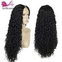 EAYON HAIR Kinky Curly U Part Wig Human Hair Wigs Brazilian Remy Hair 150% Density Curly Middle/Side Part Upat Wigs For Women
