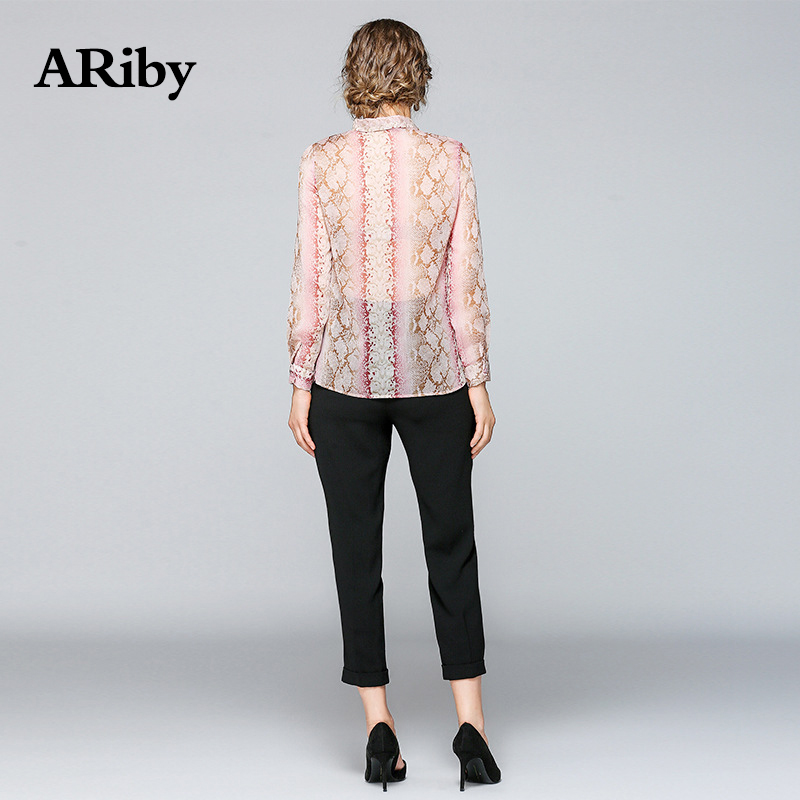 Women Shirts Harajuku Blouse 2019 Summer New Fashion Office Lady Leopard Pattern Printed Bow Collar Full Sleeve Pink Tie Shirt in Blouses amp Shirts from Women 39 s Clothing