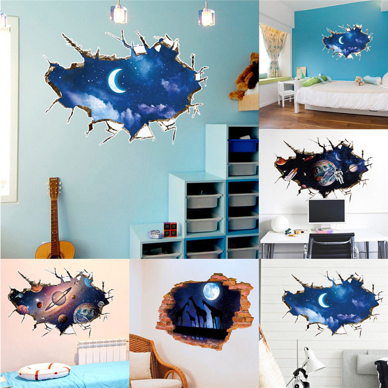 1pc 3d Pvc Waterproof Galaxy Space Removable Wall Sticker Art Decal Decor Home Decals Stickers Vinyl
