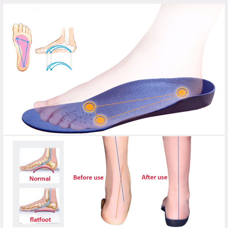 1 Pair Unisex EVA Adult Flat Foot Orthopedic Insoles Arch Support Orthopedic Insole For Men Women Feet Health Care Pad Size35-48
