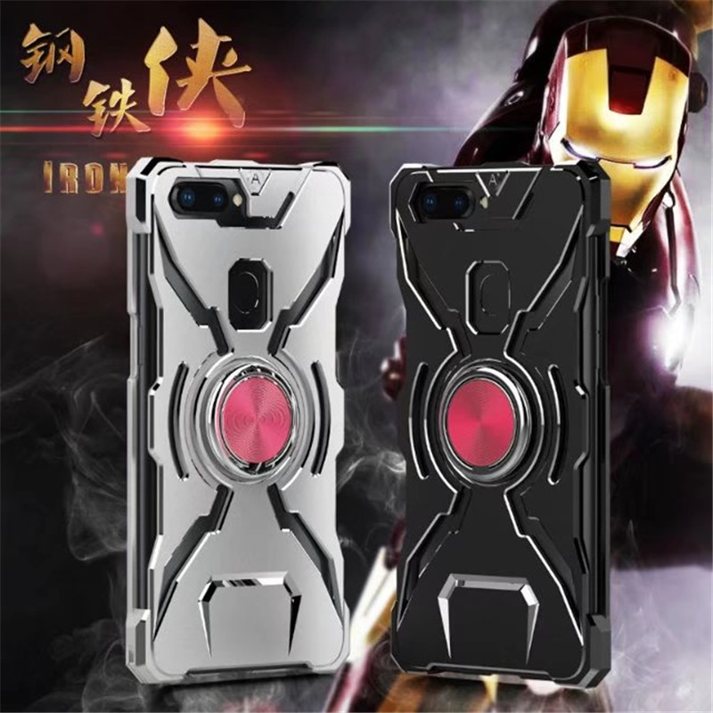 3 In 1 Durable Metal Shockproof Aluminu Frame Case & Metal Aluminum Back Case Cover For Oppo R11S / R11S PLUS With Kickstand