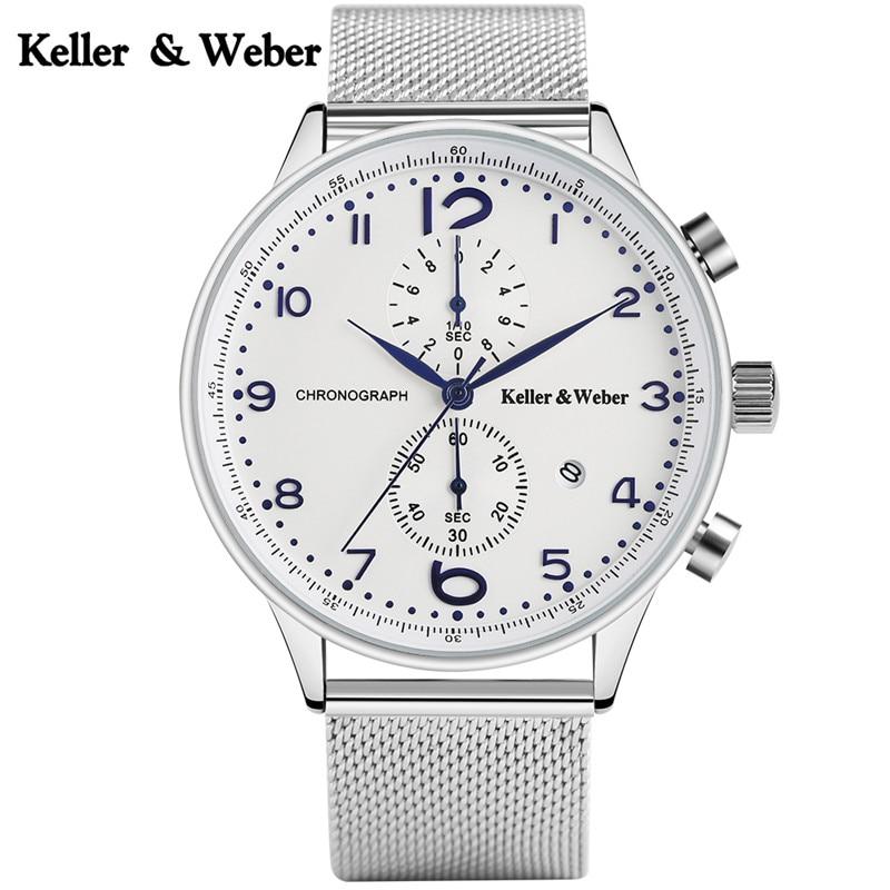 Keller & Weber Modern Men Watch Waterproof Calendar Dress Men Quartz Wristwatch Mesh Band Male Clock Top Gifts hour reloj hombre dk readers l3 helen keller