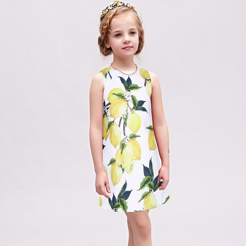 Korean Version Of The New Summer 2017 Fashion Girls Vest Lemon Pattern Slim Dress a few of the girls