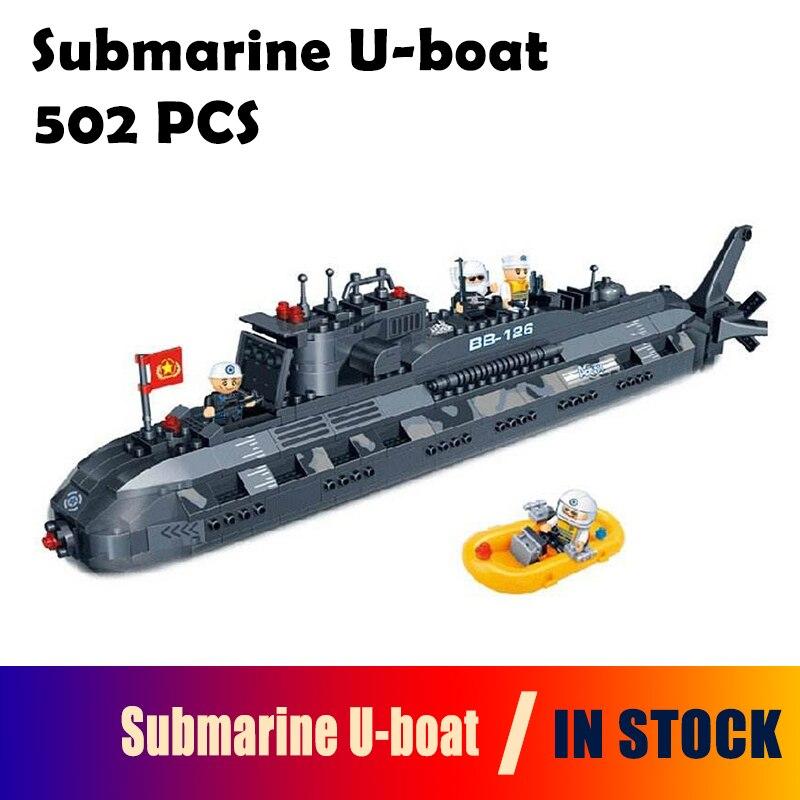 Kits de construction de modèles compatibles avec la ville sous-marin militaire u-boat blocs 3D jouets éducatifs loisirs pour les enfants