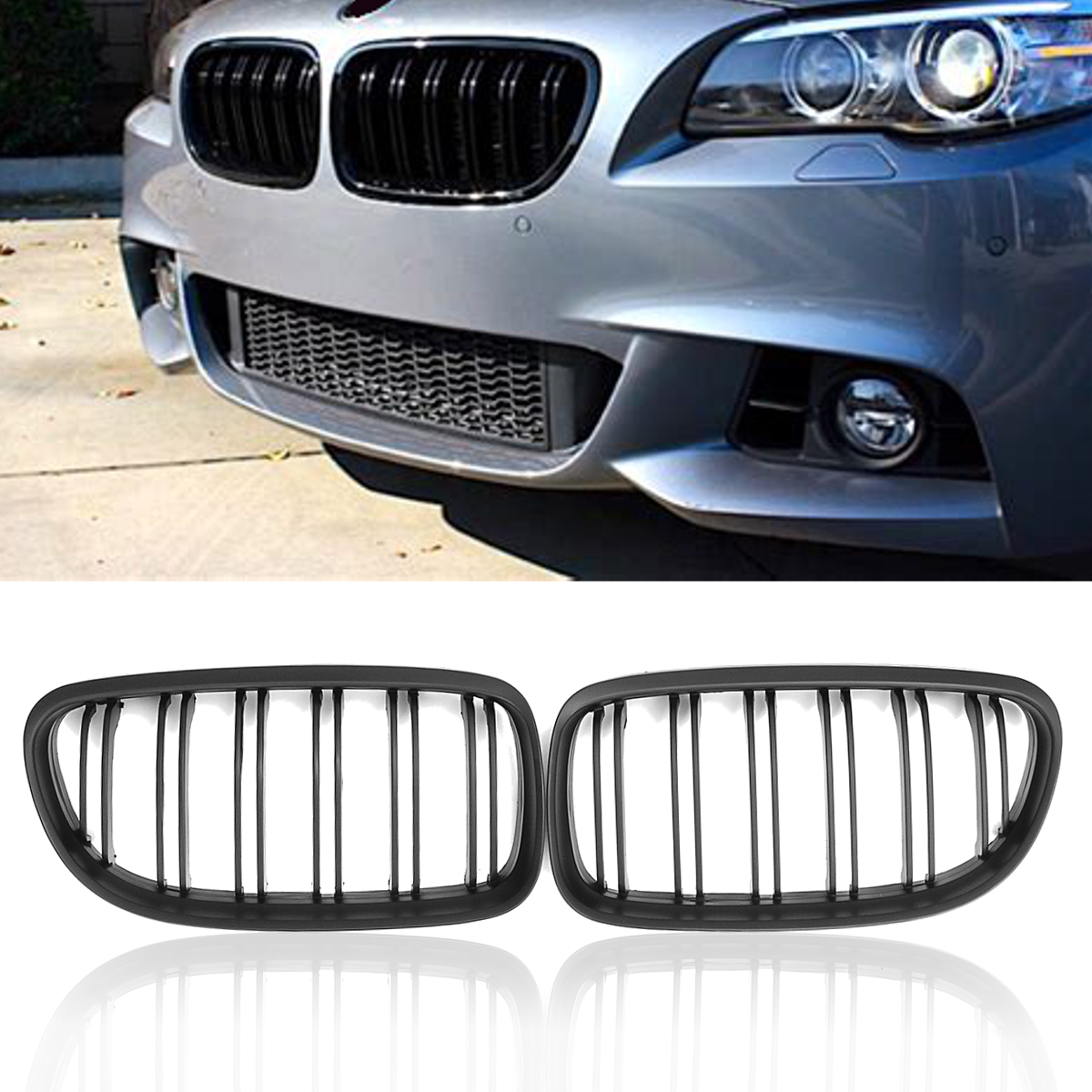 1 Pair Gloss Black Front Kidney Grille Grill Double Line Slat For BMW E90 E91 2009