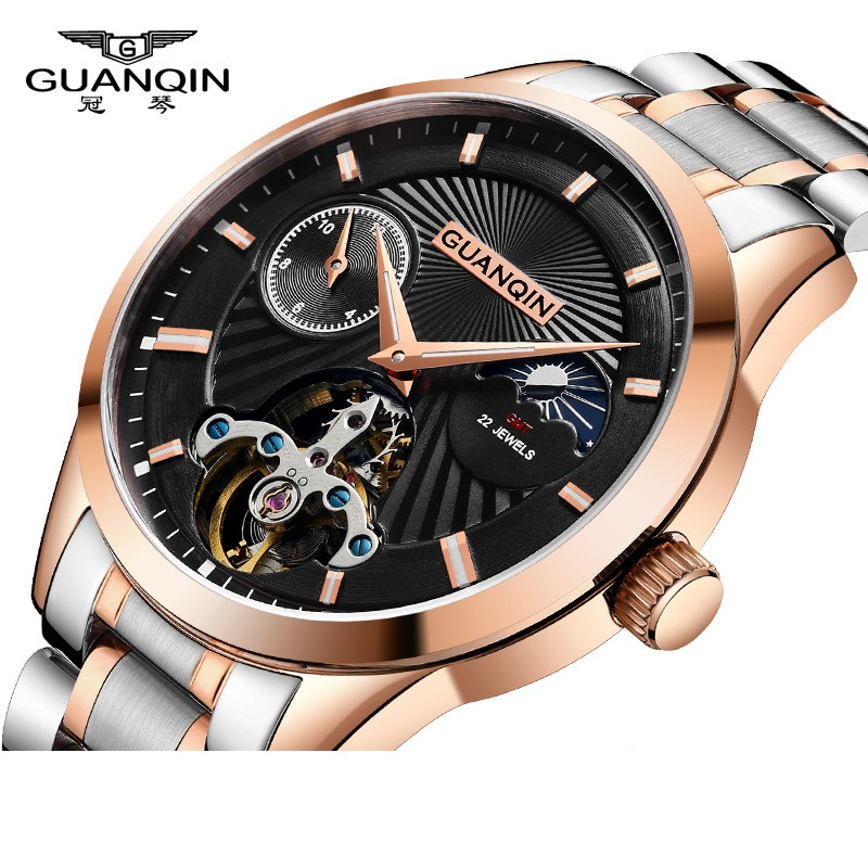 GUANQIN 2018 New Mens Fashion Tourbillon Watch Top Brand automatic watch Men Watches Moon Phase HD Luminous Waterproof relogioGUANQIN 2018 New Mens Fashion Tourbillon Watch Top Brand automatic watch Men Watches Moon Phase HD Luminous Waterproof relogio