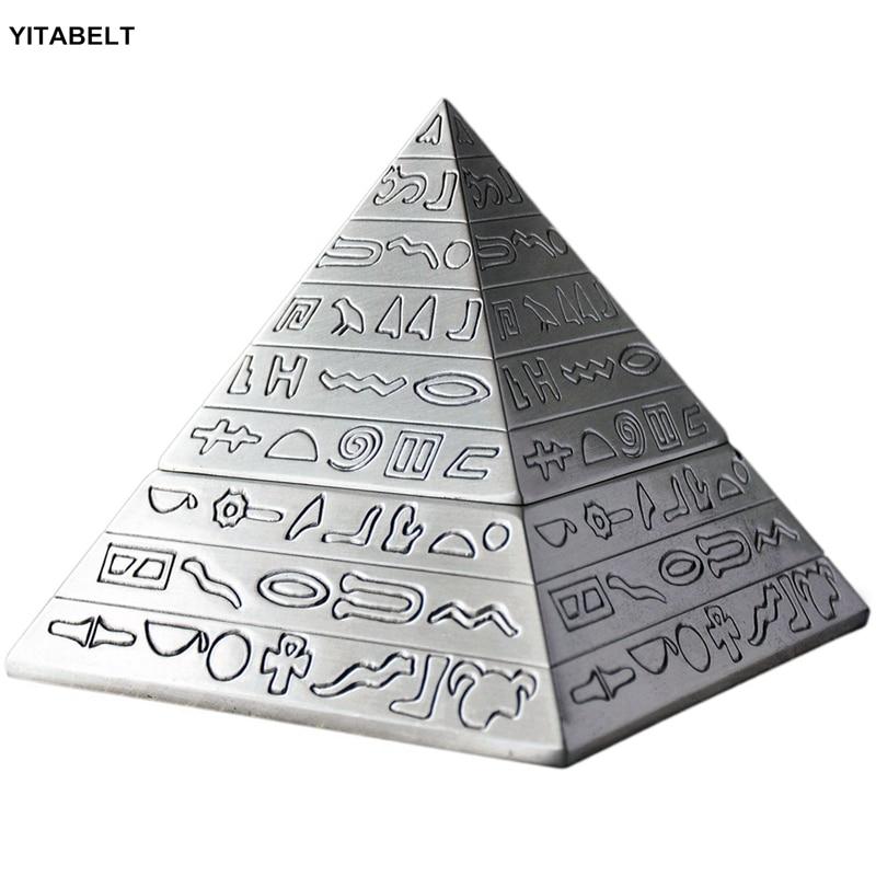 Zinc Alloy Retro Egyptian Pyramids Ashtray with Lid Ashtray Home Decor Men Gifts