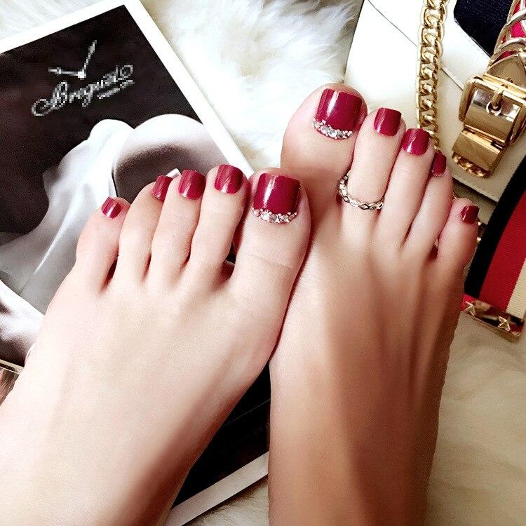 24 Pcs/set Rhinestone Decoration Summer Toe Fake Nails Wine Red ...
