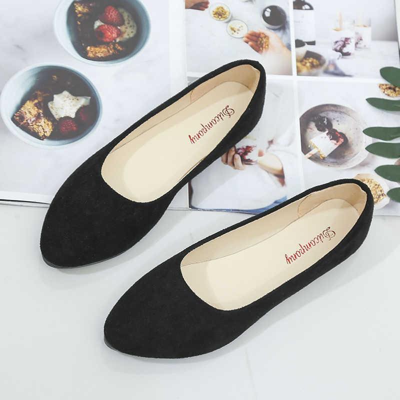 Grande taille 34-43 femmes appartements Faux daim sans lacet chaussures plates ballerines 2019 mocassins bateau chaussures blanc dames chaussures femme H7571