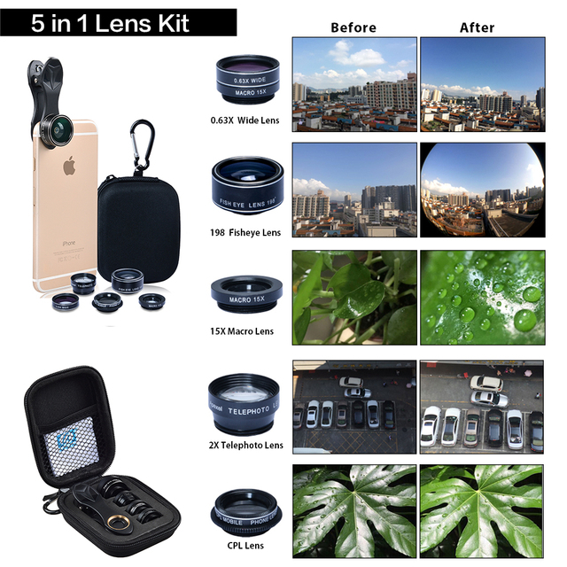 Universal clip 5 in 1 0.63X Wide Angle+Macro+FishEye+2X Telephoto +CPL lens Camera Lens lente para for iPhone 6 plus xiaomi DG5H 5