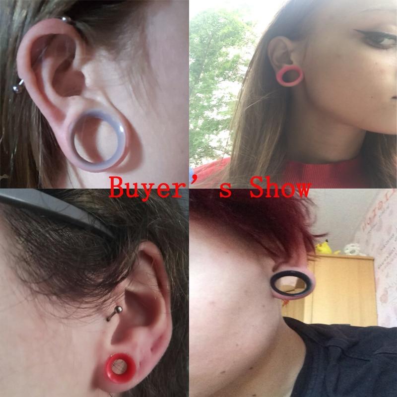 2PCS Thin Silicone Ear Skin Tunnels Plugs Flesh Ear Gauges Expander Piercings