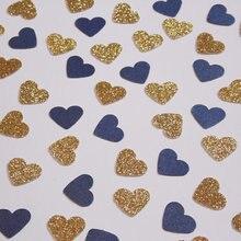 Золотой блеск и темно-синее Сердце Конфетти, свадебные украшения для приемной, свадебный душ Decorcft Настольный Декор скрапбук конфеттис