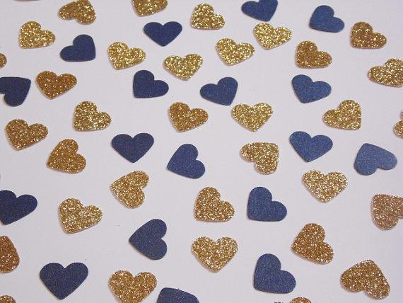 gold glitter and navy blue heart confetti wedding reception