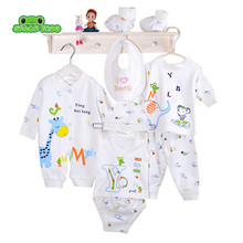 (8pcs/set)Newborn Baby set 0-6M Clothing Set Brand Baby Boy/Girl Clothes 100% Cotton Cartoon Underwear baby bib hat B-041