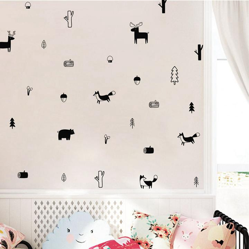 Nordic Style Forest Animal Wall Decals Woodland Tree