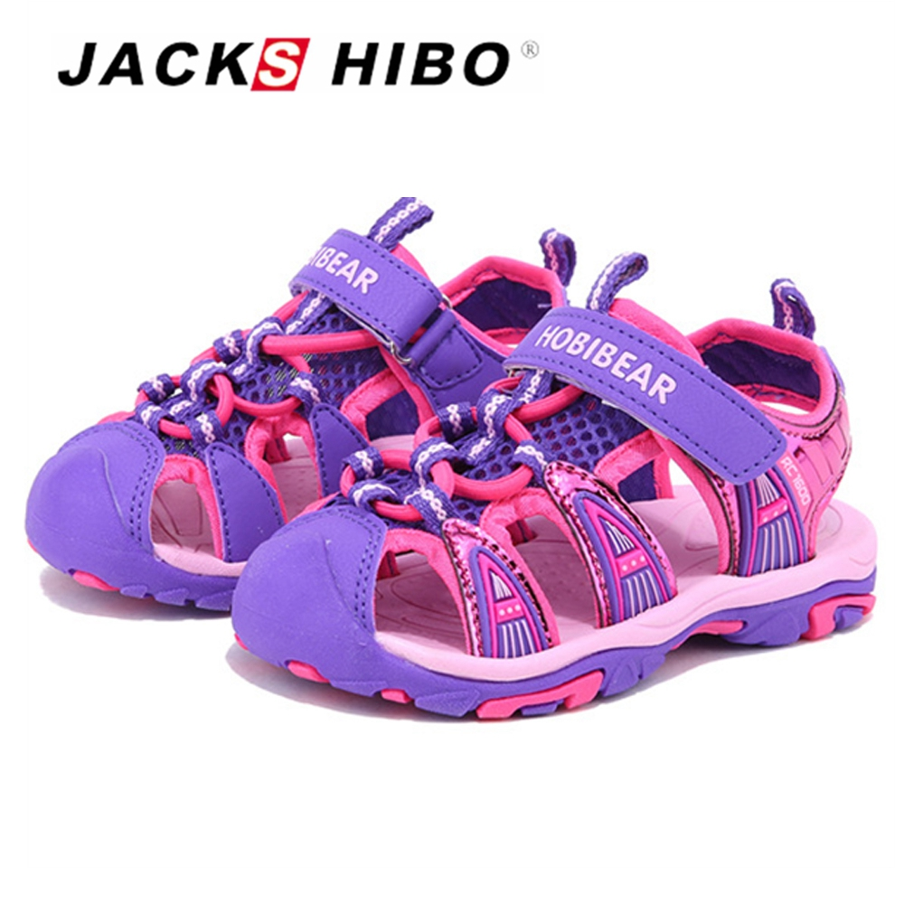 JACKSHIBO Kids Sandals Summer Beach Water Shoes Safe Close Toe for Toddlers Breathable Shoes for Kids Anti-skid Cut-outs Sandals