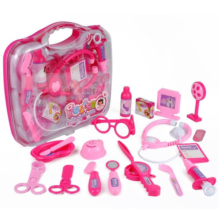 2018 new arrival 19PCS Kids Childrens Role Play Doctor Nurses Toy Medical Set Kit Gift Hard Case hot sale Toy Apr 19