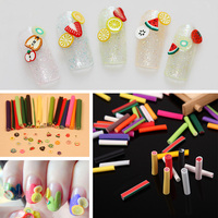 Hot Sale 200Pcs Fimo Canes Polymer Clay 3d Nail Art Stickers Fruit Flower Cutted Rolls Stamp