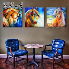 FULLCANG 3 pieces diy diamond painting three horses 5d cross stitch kits triptych diamant embroidery full square drill G1324