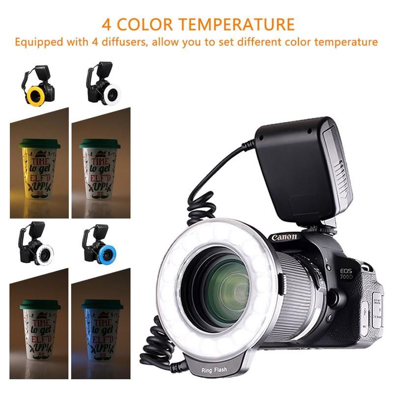 Travor 18 pcs Macro LED Ring Flash Light For Canon Nikon Panasonic Pentax Olympus DSLR Camera 1