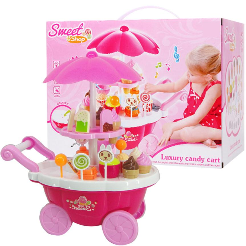 New Kids Toys 39PC Simulation Mini Candy Ice Cream Trolley Shop Pretend Play Set D50