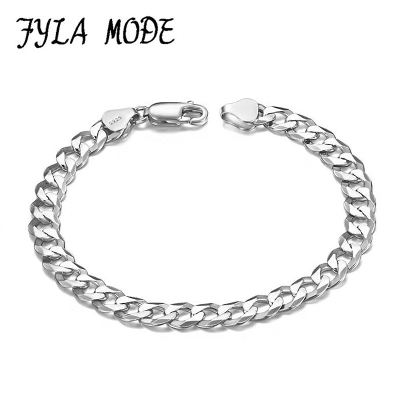Brand Bracelet Men/Women Jewelry Wholesale Trendy 100% 925 Sterling Silver 7 Inch/ 8 Inch 3MM Thick Cuban Link Chain Bracelets цена