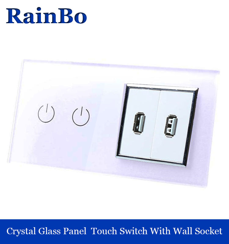 rainbo Touch Screen Control Tempered crystal Glass Panel Wall Light  touch Switch socket Wall power USB Socket A29218E2USW/B 2017 free shipping smart wall switch crystal glass panel switch us 2 gang remote control touch switch wall light switch for led
