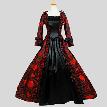 Customized 2018 Retro Gothic Victorian Party Dress Costumes Autumn Red and Black Square Collar Long Sleeve Stage Ball Gowns