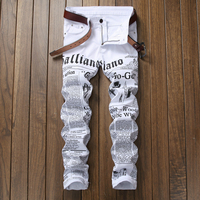 Letter Printed Jeans Men Jeans Homme 2017 Fashion Hip Hop White Skinny Jeans Casual Cotton Elasticity