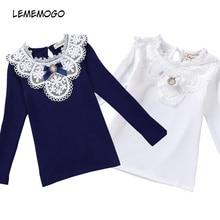 LEMEMOGO/блузки для девочек коллекция года, Весенняя кружевная школьная Блуза для девочек хлопковая одежда для маленьких девочек Детская рубашка детская одежда с длинными рукавами